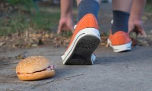 Good bye junk food hamburger left to jogging exercise